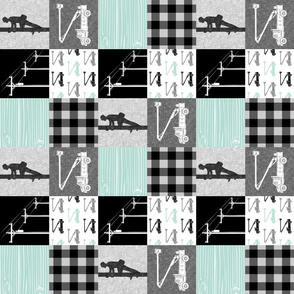 "(3"" small scale) lineman patchwork - dark mint - plaid (90)"
