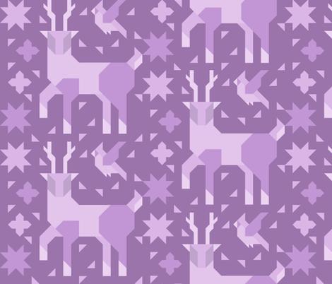 Deer and Bird (Monochrome) fabric by vedaine on Spoonflower - custom fabric