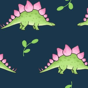 Large Green and Pink Stegosaurus Dinosaur on navy