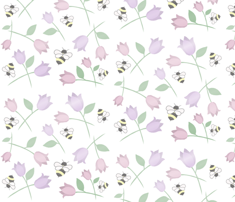bees amoung flowers fabric by mamahoneybee on Spoonflower - custom fabric
