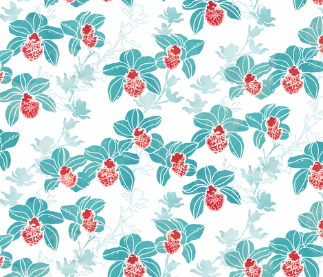 Orchids in mint and white fabric by adenaj on Spoonflower - custom fabric
