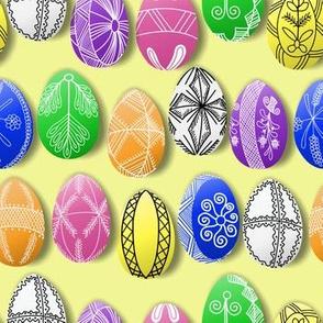 polish easter eggs on yellow small pisanki