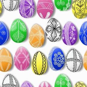 polish easter eggs on white small pisanki
