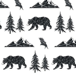 Geometric Woodland Bear - Mountains Trees Eagle GingerLous