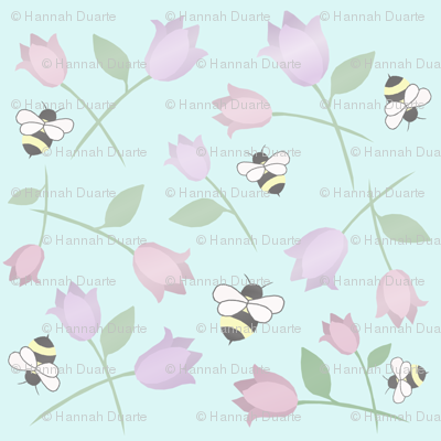 bees and flowers pale blue