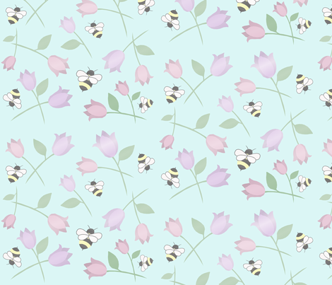 bees and flowers pale blue fabric by mamahoneybee on Spoonflower - custom fabric