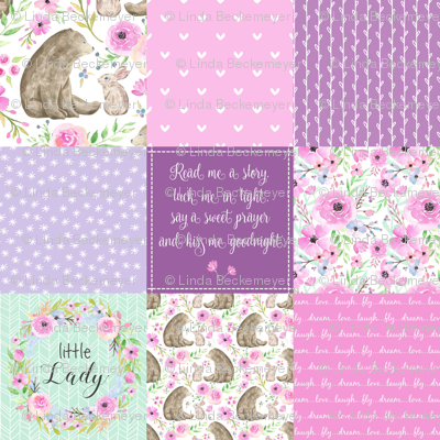 Little Lady Patchwork Quilt - Woodland Bear + Bunny Floral Pink + Lavender Wholecloth Best Friends 2 Coordinate for Girls GingerLous