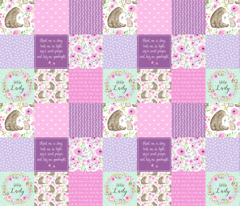 Little Lady Patchwork Quilt - Woodland Bear + Bunny Floral Pink + Lavender Wholecloth Best Friends 2 Coordinate for Girls GingerLous fabric by gingerlous on Spoonflower - custom fabric