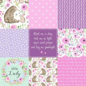 Little Lady Patchwork Quilt - Woodland Bear + Bunny Floral Pink + Lavender Wholecloth Best Friends 2 Coordinate for Girls GingerLous
