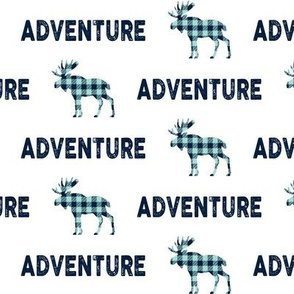 Adventure Moose - Navy + Mint Plaid Buffalo Check Boys Bedding Ginger Lous