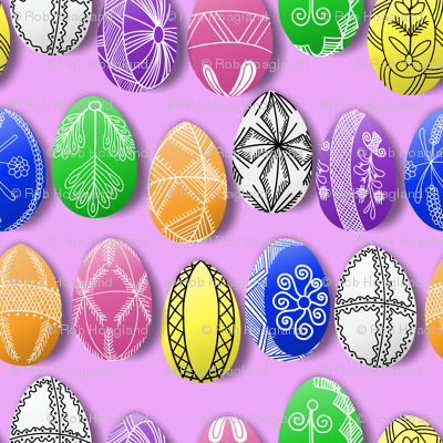 polish easter eggs on pink small pisanki