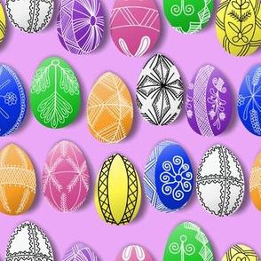 polish easter eggs on pink small pisanki