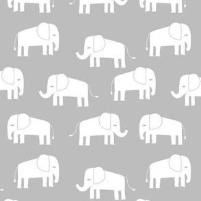 elephant fabric // - elephants, elephant, baby, nursery, cute elephant design - grey