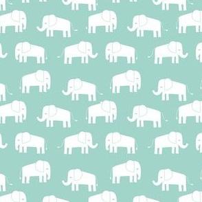 elephant fabric // - elephants, elephant, baby, nursery, cute elephant design - mint