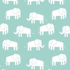 elephant fabric // - elephants, elephant, baby, nursery, cute elephant design - mint