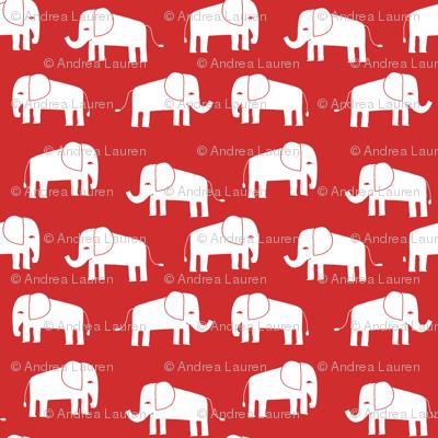 elephant fabric // - elephants, elephant, baby, nursery, cute elephant design - red