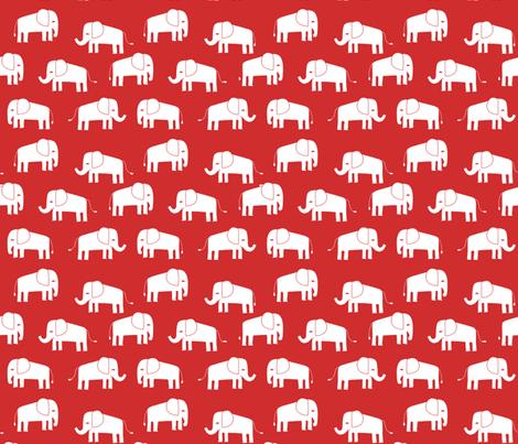 elephant fabric // - elephants, elephant, baby, nursery, cute elephant design - red fabric by andrea_lauren on Spoonflower - custom fabric