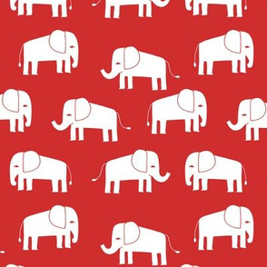 elephant fabric // - elephants, elephant, baby, nursery, cute elephant design - red