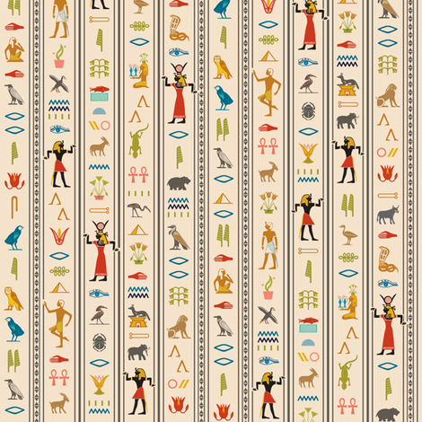 Hieroglyphics* (Jagger) || Egypt hieroglyphics birds nature symbols animals ankh dance African leaves pyramid fabric by pennycandy on Spoonflower - custom fabric