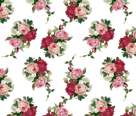 Pink Rose Bouquet - White Background fabric by grafixmom on Spoonflower - custom fabric
