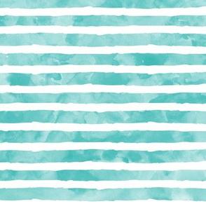 watercolor stripe - teal - mermaid color option 3 coordinate