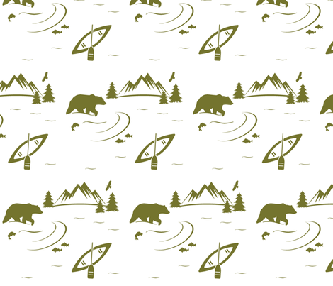 bear river - moss on white fabric by buckwoodsdesignco on Spoonflower - custom fabric