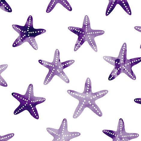 starfish - dark purple fabric by littlearrowdesign on Spoonflower - custom fabric
