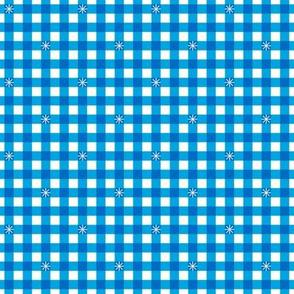 Stitched Gingham* (Sky) || check star starburst stitching needlework checkerboard spring summer 70s retro vintage bright blue