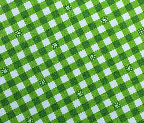 Stitched Gingham* (Grass) || check star starburst stitching needlework checkerboard spring summer 70s retro vintage bright green