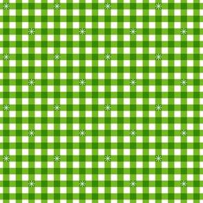 Stitched Gingham* (Grass)    check star starburst stitching needlework checkerboard spring summer 70s retro vintage bright green