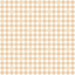 Stitched Gingham* (Jagger) || check star starburst stitching needlework checkerboard spring summer 70s retro vintage pastel cream