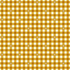 Stitched Gingham* (Gold Marilyn)    check star starburst stitching needlework checkerboard spring summer 70s retro vintage mustard yellow