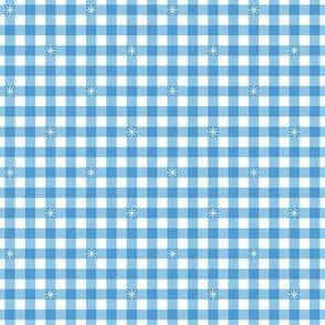 Stitched Gingham* (Sailor) || check star starburst stitching needlework checkerboard spring summer 70s retro vintage pastel light blue