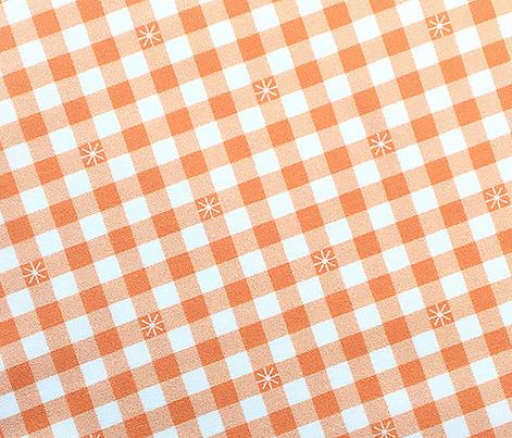 Stitched Gingham* (Peach Halves) || check star starburst stitching needlework checkerboard spring summer 70s retro vintage pastel coral blush