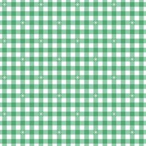 Stitched Gingham* (Green Stamps)    check star starburst stitching needlework checkerboard spring summer 70s retro vintage pastel