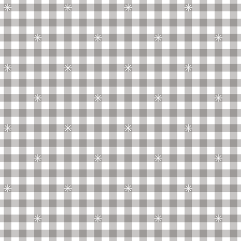 Stitched Gingham* (Silkscreen) || check star starburst stitching needlework checkerboard spring summer 70s retro vintage pastel gray grey fabric by pennycandy on Spoonflower - custom fabric