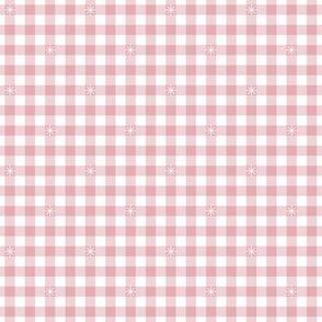 Stitched Gingham* (Capote)    check star starburst stitching needlework checkerboard spring summer 70s retro vintage pastel pink