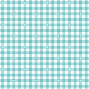 Stitched Gingham* (Polymer) || check star starburst stitching needlework checkerboard spring summer 70s retro vintage pastel aqua turquoise
