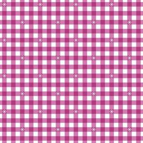 Stitched Gingham* (Pink Liza)    check star starburst stitching needlework checkerboard spring summer 70s retro vintage