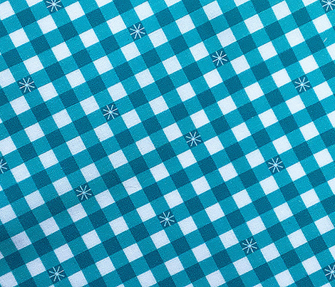 Stitched Gingham* (Television Blue) || check star starburst stitching needlework checkerboard spring summer 70s retro vintage turquoise