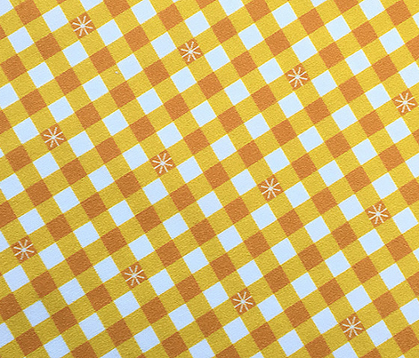 Stitched Gingham* (Velvet Banana) || check star starburst stitching needlework checkerboard spring summer 70s retro vintage yellow gold mustard