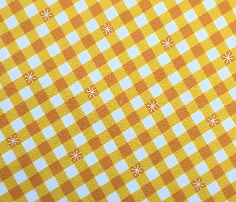 Stitched Gingham* (Velvet Banana) || check star starburst stitching needlework checkerboard spring summer 70s retro vintage yellow gold mustard