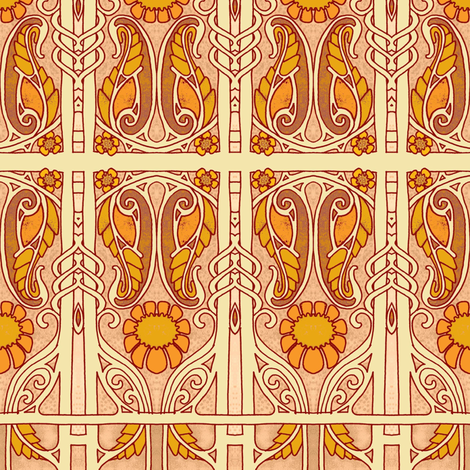 Golden Paisley Droop Boxes fabric by edsel2084 on Spoonflower - custom fabric