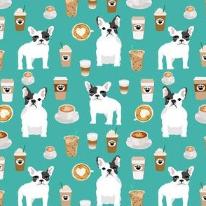 frenchie coffee fabric - cute coffees and french bulldogs coffee fabric - turquoise (smaller)