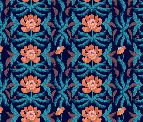 Orange Damask fabric by ay_laurita on Spoonflower - custom fabric