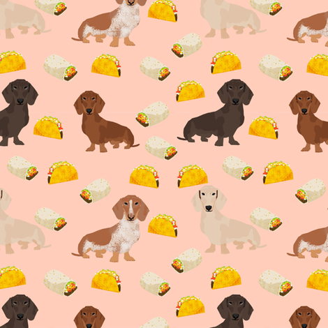 dachshund taco fabric - dogs and burritos design - blush fabric by petfriendly on Spoonflower - custom fabric