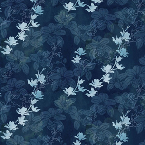 Orchid in navy blue