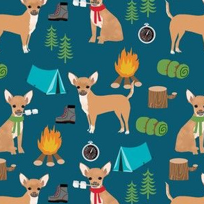 chihuahuas dog camping fabric - cute dogs and summer camping design - blue