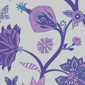Fantasy Indian Floral - Violet and blue on Silver