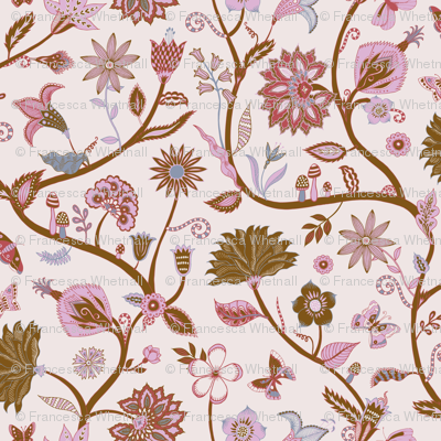 Fantasy Indian Floral - Gold, copper and cream